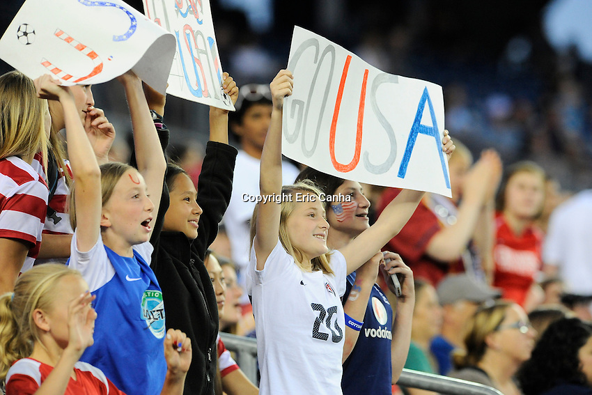 Fans cheer on the US Women's National team during the International Friendly soccer match between the USA Women's National team and the Korea Republic Women's Team held at Gillette Stadium in Foxborough Massachusetts.   Eric Canha/CSM