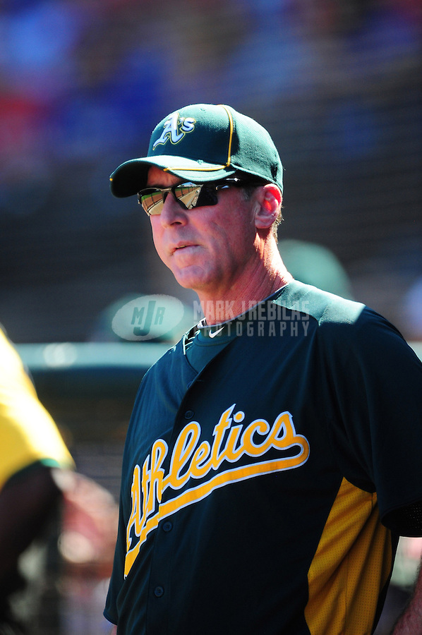 Mar. 15, 2012; Surprise, AZ, USA; Oakland Athletics manager Bob Melvin in the third inning against the Texas Rangers at Surprise Stadium.  Mandatory Credit: Mark J. Rebilas-