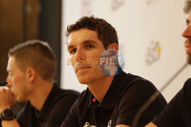 Daryl Impey (RSA) Orica-Scott press conference in Dusseldorf before the 104th edition of the Tour de France 2017, Dusseldorf, Germany. 29th June 2017.<br /> Picture: Eoin Clarke | Cyclefile<br /> <br /> <br /> All photos usage must carry mandatory copyright credit (&copy; Cyclefile | Eoin Clarke)