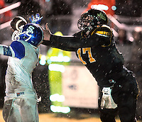 NWA Democrat-Gazette/ANDY SHUPE<br /> Dylan Soehner (17) of Prairie Grove reaches to make a catch in the end zone as Eric Briggs of Star City defends Friday, Nov. 27, 2015, during the first half of play at Tiger Stadium in Prairie Grove. Visit nwadg.com/photos to see more photographs from the game.