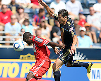 Stefani Miglioranzi #6 of the Philadelphia Union moves in behind Nana Attakora #3 of Toronto FC during an MLS match at PPL stadium in Chester, PA. on July 17 2010.