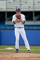 Princeton Rays relief pitcher Christopher Gau (10) gets ready to deliver a pitch during the first game of a doubleheader against the Greeneville Reds on July 25, 2018 at Hunnicutt Field in Princeton, West Virginia.  Princeton defeated Greeneville 6-4.  (Mike Janes/Four Seam Images)