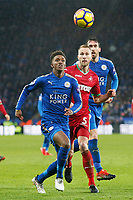 Demarai Gray of Leicester City is challenged by Mike van der Hoorn of Swansea during the Premier League match between Leicester City and Swansea City at the King Power Stadium, Leicester, England, UK. Saturday 03 February 2018