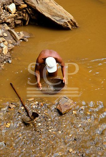 Ouro Preto, Brazil. Gold panning; Mariana gold mine, near Minas Gerais state.