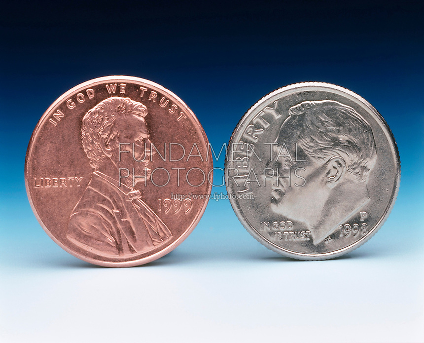 AMERICAN COINS: PENNY &amp; DIME<br /> U.S. Currency- One Cent &amp; Ten Cents<br /> The 10 cent dime was 90 percent silver and 10 percent copper until 1966 but is now minted with a clad composition of cupronickel. The penny was pure copper until 1981-5 but is now copper-plated zinc: 97.5 percent zinc and 2.5 percent copper.