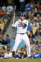 Adrian Gonzalez #23 of the Los Angeles Dodgers bats against the Colorado Rockies at Dodger Stadium on September 29, 2012 in Los Angeles, California. Los Angeles defeated Colorado 3-0. (Larry Goren/Four Seam Images)
