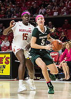 COLLEGE PARK, MD - FEBRUARY 03: Ashley Owusu #15 of Maryland follows up on Claire Hendrickson #5 of Michigan State during a game between Michigan State and Maryland at Xfinity Center on February 03, 2020 in College Park, Maryland.