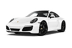 Stock pictures of low aggressive front three quarter view of a 2018 Porsche 911 Carrera 2 Door Coupe