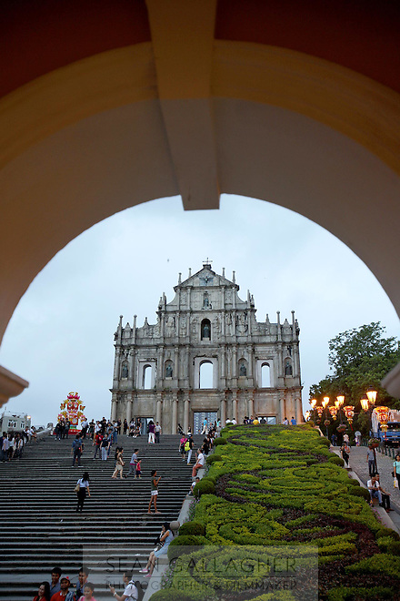 The ruins of Saint Paul's Church, a famous landmark in the historic center of Macao.<br /> <br /> To license this image, please contact the National Geographic Creative Collection:<br /> <br /> Image ID: 1973105 <br />  <br /> Email: natgeocreative@ngs.org<br /> <br /> Telephone: 202 857 7537 / Toll Free 800 434 2244<br /> <br /> National Geographic Creative<br /> 1145 17th St NW, Washington DC 20036