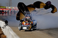 Oct. 15, 2010; Bakersfield, CA, USA; Nostalgia top fuel dragster driver John Weaver crashes during qualifying for the California Hot Rod Reunion at the Auto Club Famoso Raceway. Mandatory Credit: Mark J. Rebilas-US PRESSWIRE
