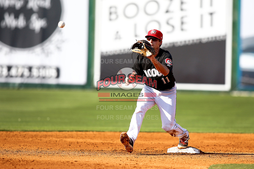 Chattanooga Lookouts second baseman Ryan Walker (11) catches a ball in a double play attempt against the Mobile BayBears on June 3, 2018 at AT&T Field in Chattanooga, Tennessee. (Andy Mitchell/Four Seam Images)