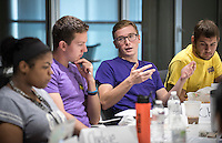 Members of the Student Advisory Committee meet in Johnson Hall room 314 on Oct. 15, 2015. The Student Advisory Committee is a new initiative this year. Students applied to be one of 9 committee members to support Project S.A.F.E.'s efforts in creating a safer and more open community and to receive direct community feedback. It is also meant for the committee members to learn more about the field of sexual violence prevention at legislative, research, and campus levels. Project S.A.F.E. (Sexual Assault Free-Environment), a prevention, education, and advocacy program dedicated to addressing issues of sexual assault on campus.<br />