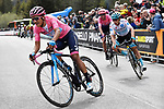 Maglia Rosa Richard Carapaz (ECU) Movistar Team, Maglia Bianca Miguel Angel Lopez Moreno (COL) Astana Pro Team and Hugh Carthy (GBR) EF Education First round final corner at the end of Stage 17 of the 2019 Giro d'Italia, running 181km from Commezzadura (Val di Sole) to Anterselva / Antholz, Italy. 29th May 2019<br /> Picture: Fabio Ferrari/LaPresse | Cyclefile<br /> <br /> All photos usage must carry mandatory copyright credit (© Cyclefile | Fabio Ferrari/LaPresse)