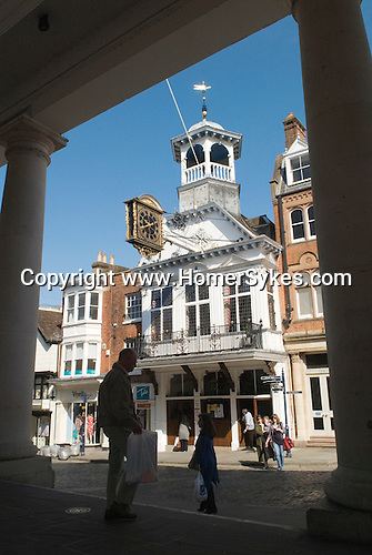 Guildford Guildhall,  Guildford Surrey UK. High Street shoppers.
