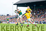 Tommy Walsh, Kerry in action against Donal Keoghan, Meath during the Football All-Ireland Senior Championship Quarter-Final Group 2 Phase 3 match between Kerry and Meath at Páirc Tailteann, Navan on Saturday.