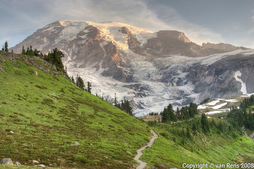 Trail From Paradise Inn to Alta Vista on Mt. Rainier in morning.