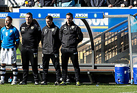 Kevin Nolan manager of Notts County observe's a minutes silence as a mark of respect to those who have lost their lives or were injured in the tragic attacks in Westminster London on the 22nd March 2017 during the Sky Bet League 2 match between Wycombe Wanderers and Notts County at Adams Park, High Wycombe, England on the 25th March 2017. Photo by Liam McAvoy.