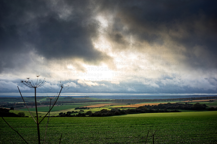 Landscape view over the South Downs in West Sussex, England