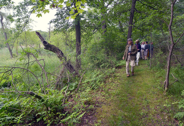 """Overview of the group who participated in the Esopus Creek Conservancy and John Burroughs Natural History Society co-sponsored, """"Breeding Birds and Butterfles Walk- led by Steve Chorvas, in the Esopus Bend Nature Preserve in Saugerties, NY, on Saturday, June 17, 2017. Photo by Jim Peppler. Copyright/Jim Peppler-2017."""