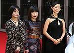 "November 24, 2017, Tokyo, Japan - (L-R) Japanese Naoki award author Riku Onda, comedian Buruzon Chiemi and actress Tae Kimura pose for photo on the red carpet as they receive ""Vogue Japan Women of the Year 2017"" award in Tokyo on Friday, November 24, 2017.      (Photo by Yoshio Tsunoda/AFLO) LWX -ytd-"