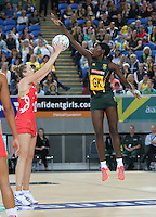 04.09.2016 England's Joanne Harten and South Africa's Phumza Maweni in action during the Netball Quad Series match between England and South Africa played at Margaret Court Arena in Melbourne. Mandatory Photo Credit ©Michael Bradley.