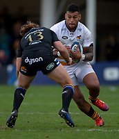 Wasps' Nathan Hughes is tackled by Bath Rugby's Max Clark<br /> <br /> Photographer Bob Bradford/CameraSport<br /> <br /> European Rugby Heineken Champions Cup Pool 1 - Bath Rugby v Wasps - Saturday 12th January 2019 - The Recreation Ground - Bath<br /> <br /> World Copyright &copy; 2019 CameraSport. All rights reserved. 43 Linden Ave. Countesthorpe. Leicester. England. LE8 5PG - Tel: +44 (0) 116 277 4147 - admin@camerasport.com - www.camerasport.com