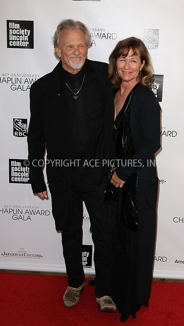 WWW.ACEPIXS.COM....April 22 2013, New York City.... Kris Kristofferson and Lisa Kristofferson arriving at the 40th Anniversary Chaplin Award Gala at Avery Fisher Hall at the Lincoln Center on April 22, 2013 in New York City.....By Line: Zelig Shaul/ACE Pictures......ACE Pictures, Inc...tel: 646 769 0430..Email: info@acepixs.com..www.acepixs.com