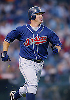 Jim Thome of the Cleveland Indians runs the bases during a 2002 MLB season game against the Los Angeles Angels at Angel Stadium, in Los Angeles, California. (Larry Goren/Four Seam Images)