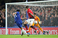 Pedro of Chelsea takes a shot at the Manchester United goal during Chelsea vs Manchester United, Emirates FA Cup Football at Stamford Bridge on 18th February 2019