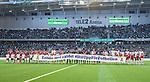 Stockholm 2014-04-14 Fotboll Superettan Hammarby IF - Degerfors IF :  <br /> Hammarbys och Degerfors spelar med en banderoll innan matchen<br /> (Foto: Kenta J&ouml;nsson) Nyckelord:  HIF Bajen Degerfors