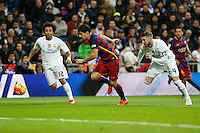Real Madrid´s Marcelo Vieira and Sergio Ramos and Barcelona´s Luis Suarez during 2015-16 La Liga match between Real Madrid and Barcelona at Santiago Bernabeu stadium in Madrid, Spain. November 21, 2015. (ALTERPHOTOS/Victor Blanco) /NortePhoto