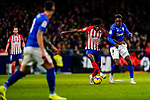 Thomas Teye Partey of Atletico de Madrid (L) fights for the ball with Inaki Williams Arthuer of Athletic de Bilbao during the La Liga 2018-19 match between Atletico de Madrid and Athletic de Bilbao at Wanda Metropolitano, on November 10 2018 in Madrid, Spain. Photo by Diego Gouto / Power Sport Images