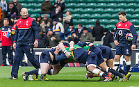 Steve Borthwick, Forwads Coach, leads players through warm up drills, England v Ireland in a 6 Nations match at Twickenham Stadium, Whitton Road, Twickenham, England, on 27th February 2016