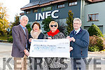 Elsie Hegarty and Margaret O'Donoghue (organisers of Models in Recovery Fashion Show in Aid of Kerry Hospice Fundation) presenting a cheque to Pat Doolan (Chairman of Kerry Hospice Fundation Killarney Brnach) and Ted Moynihan (County Chairman of Kerry Hospice Fundation) at the INEC, Killarney last Tuesday morning.