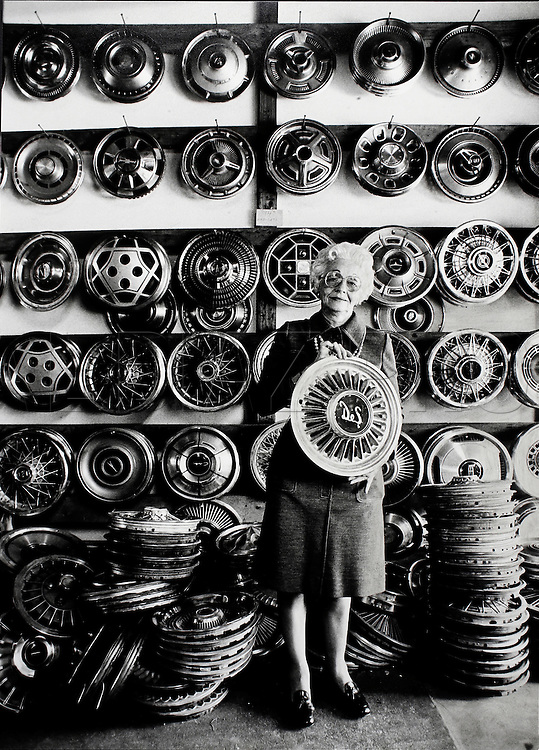"""Betty Hubcap"" at her Liberty City salvage yard in Miami,1983."