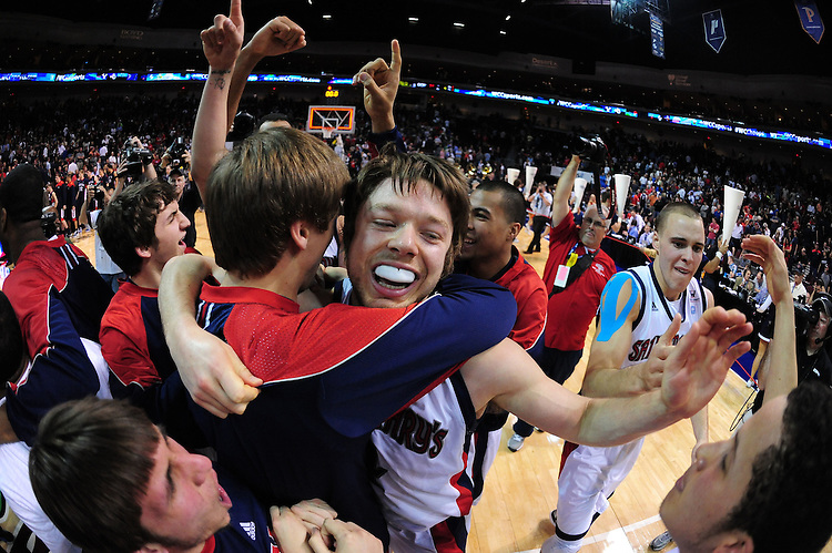 March 5, 2012; Las Vegas, NV, USA; Saint Mary's Gaels team celebrates against the Gonzaga Bulldogs during the WCC Basketball Championships at Orleans Arena.