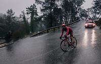 Tiago Machado (POR/Katusha-Alpecin) manouvering a precarious descent in the torrential rain<br /> <br /> 76th Paris-Nice 2018<br /> Stage 8: Nice > Nice (110km)