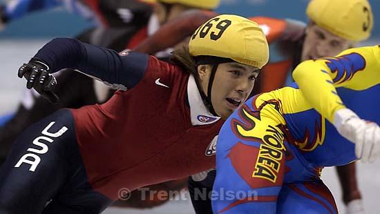 USA's Apolo Anton Ohno. Men's 1500m Final, Wednesday evening at the Salt Lake Ice Center, 2002 Olympic Winter Games.&amp;#xA; 02.20.2002, 8:45:46 PM<br />