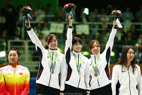 (L-R)<br /> Ayumi Yamada (JPN), <br /> Rie Ohashi (JPN), <br /> Ayaka Shimookawa (JPN),<br /> SEPTEMBER 25, 2014 - Fencing : <br /> Women's Eppe Team Victory ceremony <br /> at Goyang Gymnasium <br /> during the 2014 Incheon Asian Games in Incheon, South Korea. <br /> (Photo by Shingo Ito/AFLO SPORT)