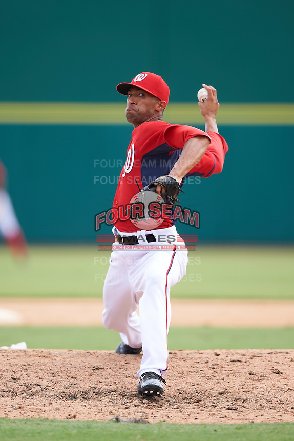 Washington Nationals pitcher Mariano Rivera III (61) during an Instructional League game against the Atlanta Braves on September 30, 2016 at Space Coast Stadium in Melbourne, Florida.  (Mike Janes/Four Seam Images)