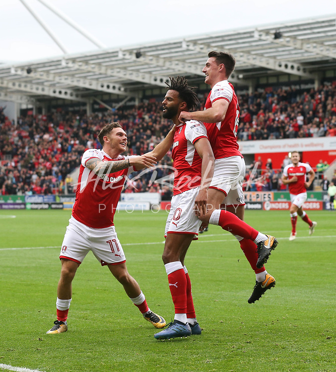 Rotherham United VS Oldham Athletic, New York Stadium Rotherham, Saturday 23rd September 2017 <br /> <br /> ROTHERHAMS MICHAEL IHIEKWE CELEBRATES SCORING TO PUT THE MILLERS AHEAD 1-0 AGAINST OLDHAM<br /> <br /> Picture - Alex Roebuck / www.alexroebuck.co.uk