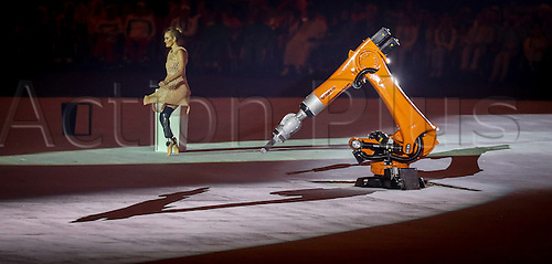 07.9.2016. Rio de Janeiro, Brazil.  Dancer Amy Purdy performs a dance with a robot during the Opening Ceremony of the Rio 2016 Paralympic Games at Maracana Stadium, Rio de Janeiro, Brazil, 07 September 2016.