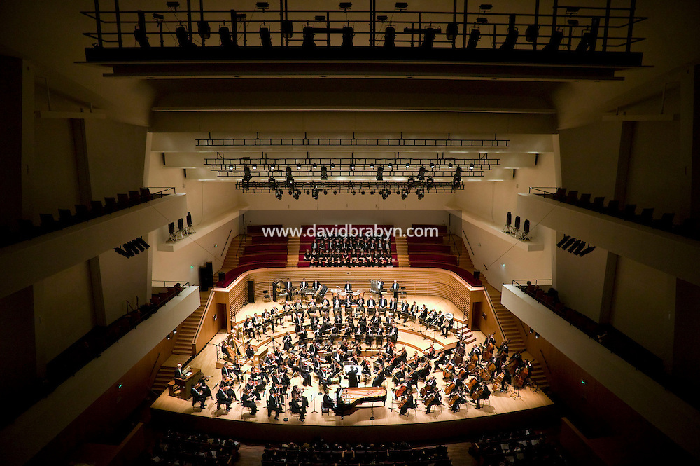 "The Noord Nederlands Orkest conducted by Michel Tabachnik perform ""L'Acte préalable"" by Alexandre Scriabine at the salle Pleyel in Paris, France, 9 November 2007."