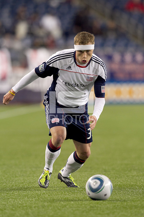 New England Revolution midfielder Zak Boggs (33). In a Major League Soccer (MLS) match, the New England Revolution tied the Portland Timbers, 1-1, at Gillette Stadium on April 2, 2011.