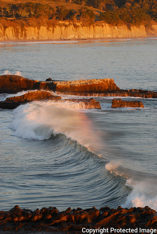 Wave at sunset at Ano Nuevo State Park