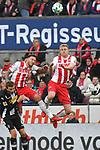 14.01.2018, RheinEnergieStadion, Koeln, GER, 1.FBL., 1. FC K&ouml;ln vs. Borussia M&ouml;nchengladbach<br /> <br /> im Bild / picture shows: <br /> Kopfballaktion Marco H&ouml;ger/Hoeger (FC K&ouml;ln #6),  Frederik S&ouml;rensen / Sorensen (FC K&ouml;ln #4),   Christoph Kramer (Gladbach #6),  li <br /> <br /> <br /> Foto &copy; nordphoto / Meuter