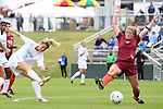03 November 2010: UNC's Kealia Ohai (7) shoots past VT's Kelly Lynch (right). The University of North Carolina Tar Heels defeated the Virginia Tech Hokies 4-2 at Koka Booth Stadium at WakeMed Soccer Park in Cary, North Carolina in an ACC Women's Soccer Tournament Quarterfinal game.