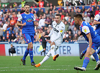 Swansea City's Bersant Celina scores his side's second goal <br /> <br /> Photographer Ian Cook - CameraSport<br /> <br /> The EFL Sky Bet Championship - Swansea City v Ipswich Town - Saturday 6th October 2018 - Liberty Stadium - Swansea<br /> <br /> World Copyright &copy; 2018 CameraSport. All rights reserved. 43 Linden Ave. Countesthorpe. Leicester. England. LE8 5PG - Tel: +44 (0) 116 277 4147 - admin@camerasport.com - www.camerasport.com