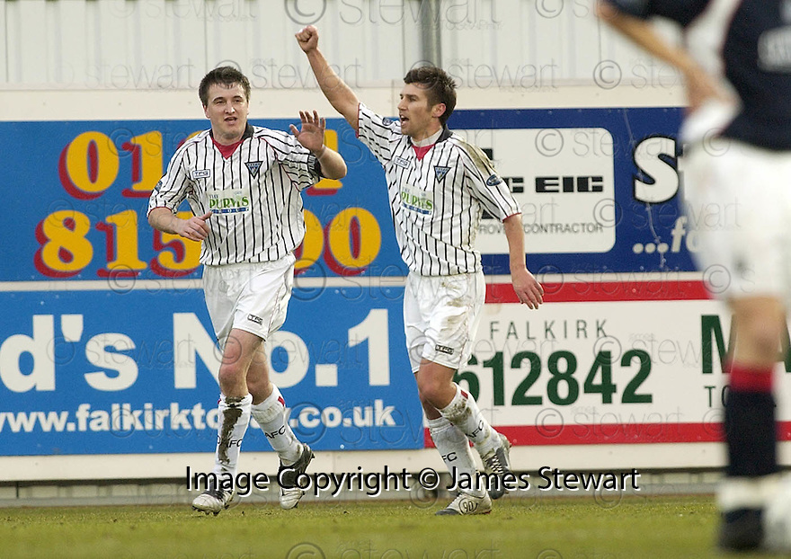 31/12/2005         Copyright Pic: James Stewart.File Name : sct_jspa03_falkirk_v_dunfermline.MARK BURCHILL IS CONGRATULATED AFTER SCORING DUNFERMLINE'S FIRST....Payments to :.James Stewart Photo Agency 19 Carronlea Drive, Falkirk. FK2 8DN      Vat Reg No. 607 6932 25.Office     : +44 (0)1324 570906     .Mobile   : +44 (0)7721 416997.Fax         : +44 (0)1324 570906.E-mail  :  jim@jspa.co.uk.If you require further information then contact Jim Stewart on any of the numbers above.........