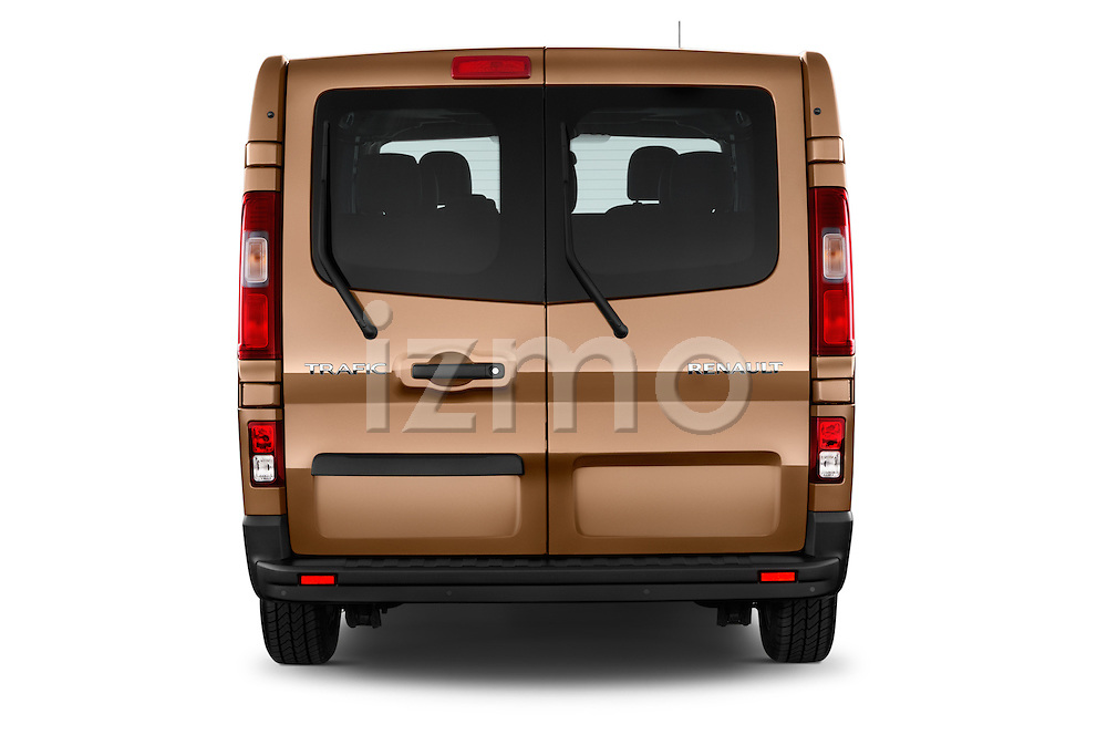 Straight rear view of a 2015 Renault Trafic Luxe 5 Door Van stock images